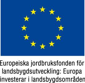 EU-flagga, under den texten Europeiska jordbruksfonden för landsbygdsutveckling: Europa investerar i landsbygdsområden.