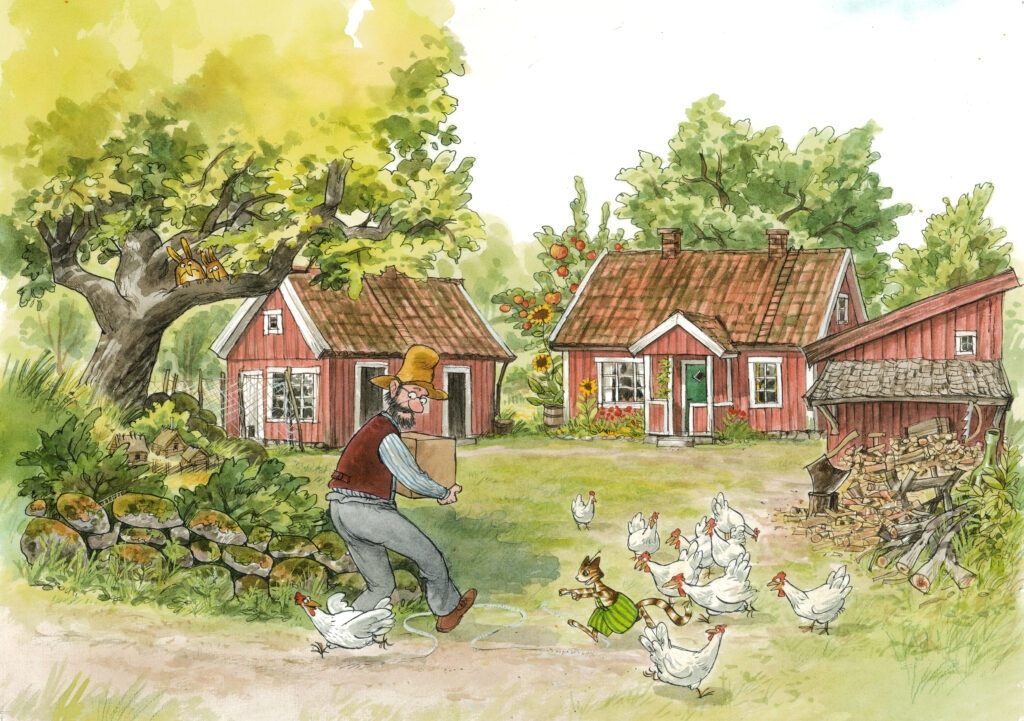 En tecknad bild med en gubbe, en katt och flera höns. I bakgrunden en gårdsplan omgärdad av röda hus.