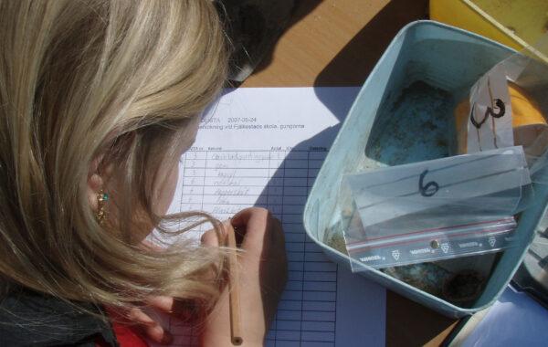 En flicka fyller i ett formulär och märker upp arkeologiska fynd.